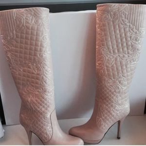 Authentic Versace pink leather knee boot 5.5 point